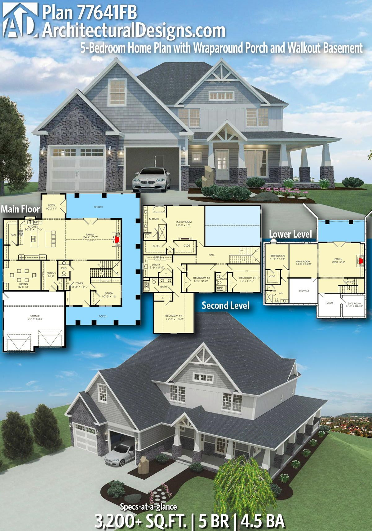 Plan 77641fb 4 Or 5 Bedroom Home Plan With Wraparound Porch And Walkout Basement Craftsman House Plans House Plans 5 Bedroom House Plans