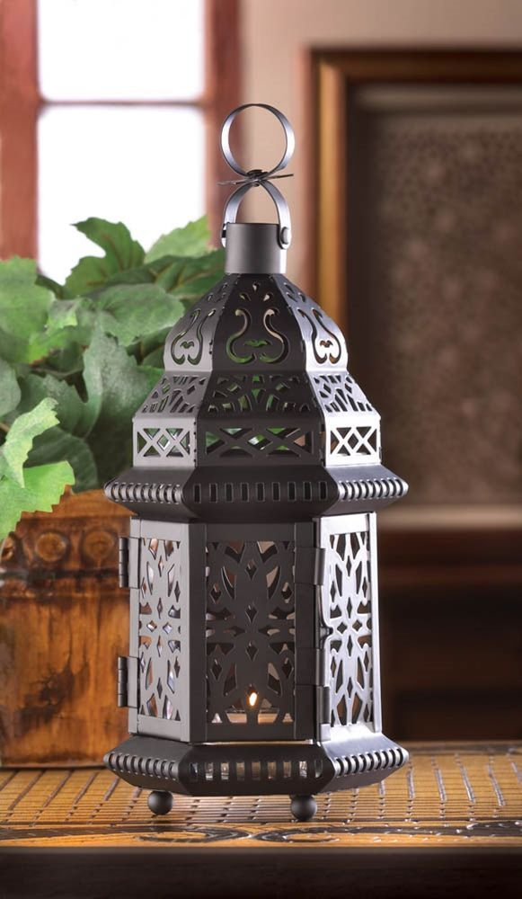 Set of 6 Small Black Iron Moroccan Style Candle Lanterns  #Moroccan #Lanterns