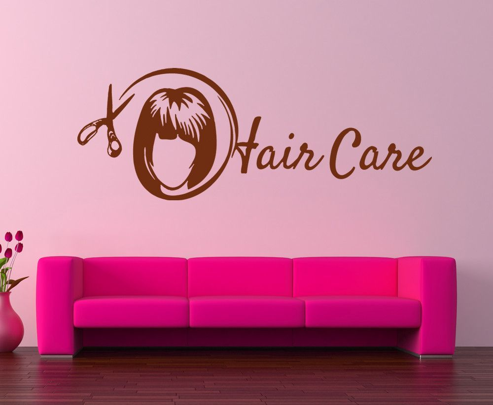 ik857 Wall Decal Sticker hair salon girl hairstyle barber scissors styling comb