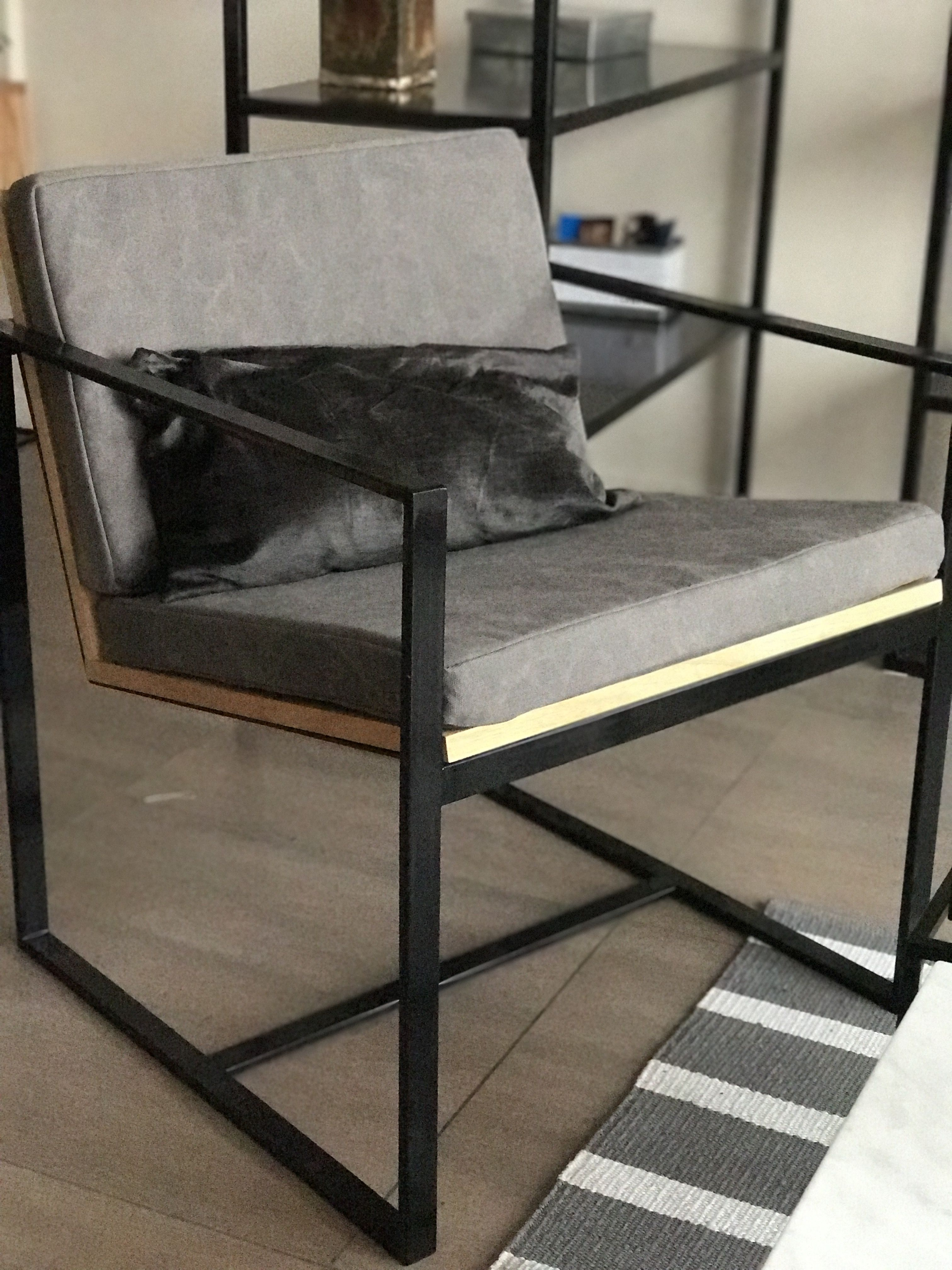 Sillon individual hierro y madera minimalista y moderno - Sofas individuales modernos ...