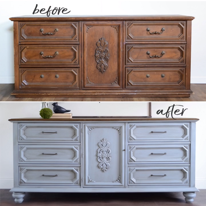 How to Add Legs to Vintage Furniture the Easy Way | Here is a before and after of a thrifted 9 drawer ornate dresser with and without legs. By A Ray of Sunlight Update your old furniture with a simple DIY makeover idea. #thriftstorefinds #bedroomdiy #diyfurniture