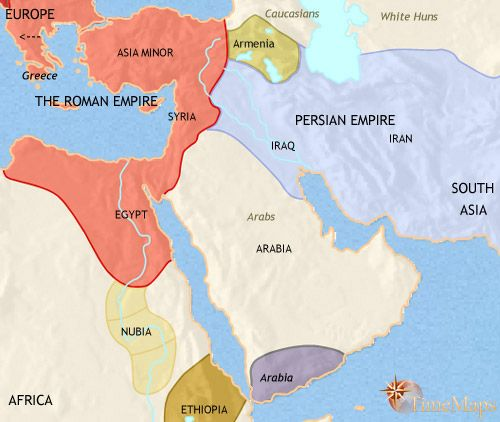history map of Middle East 500AD  The Middle East Collection