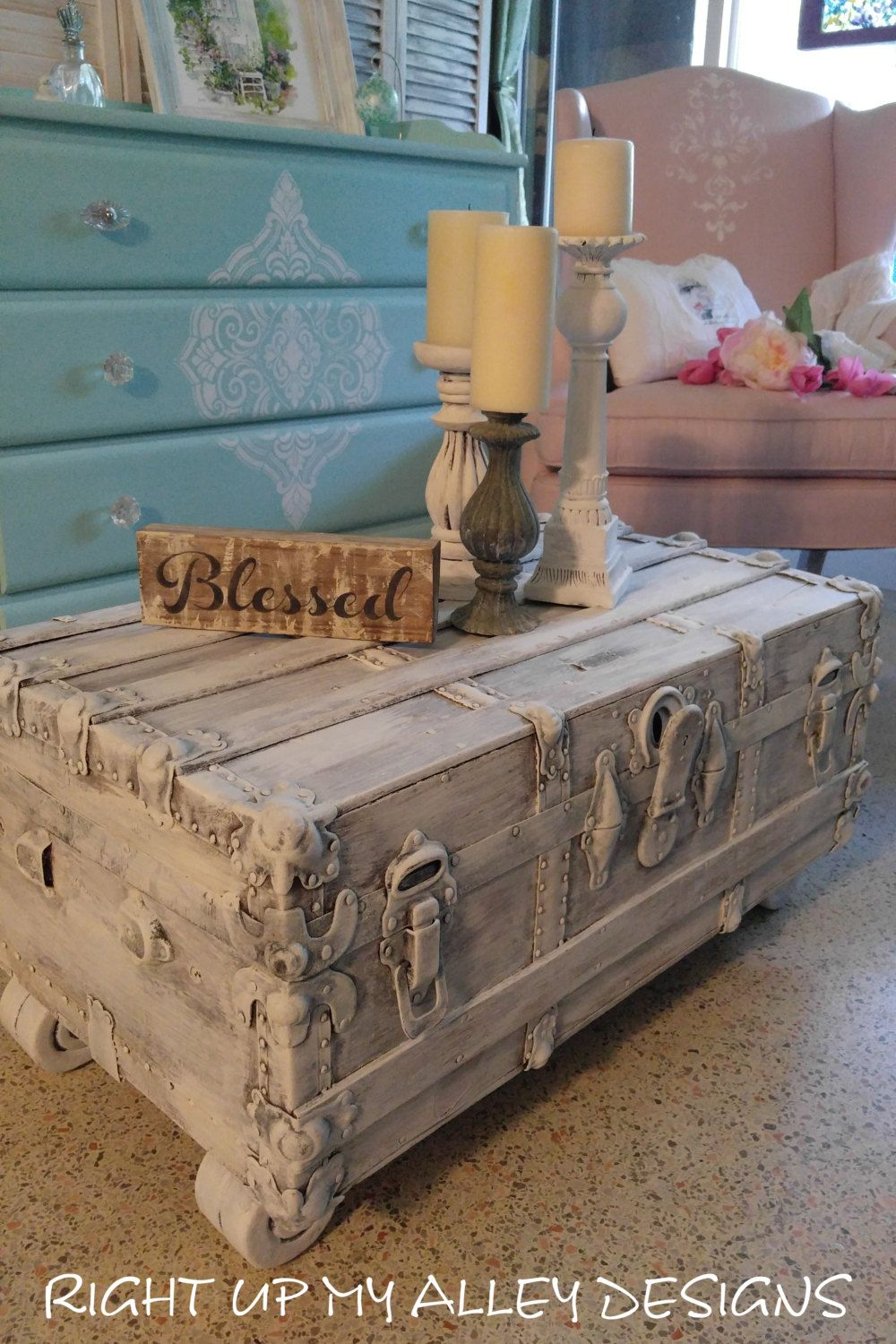 Old vintage trunkTrunk Coffee TableShabby Chic TrunkFlat steamer TrunkStorage trunkShabby Chic Trunk with feetwhite distressed trunk by ... & Old vintage trunkTrunk Coffee TableShabby Chic TrunkFlat steamer ...