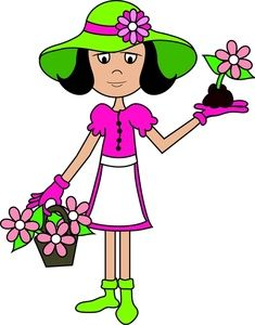Gardener Clipart Image Girl Or Woman All Dressed Up For Gardening