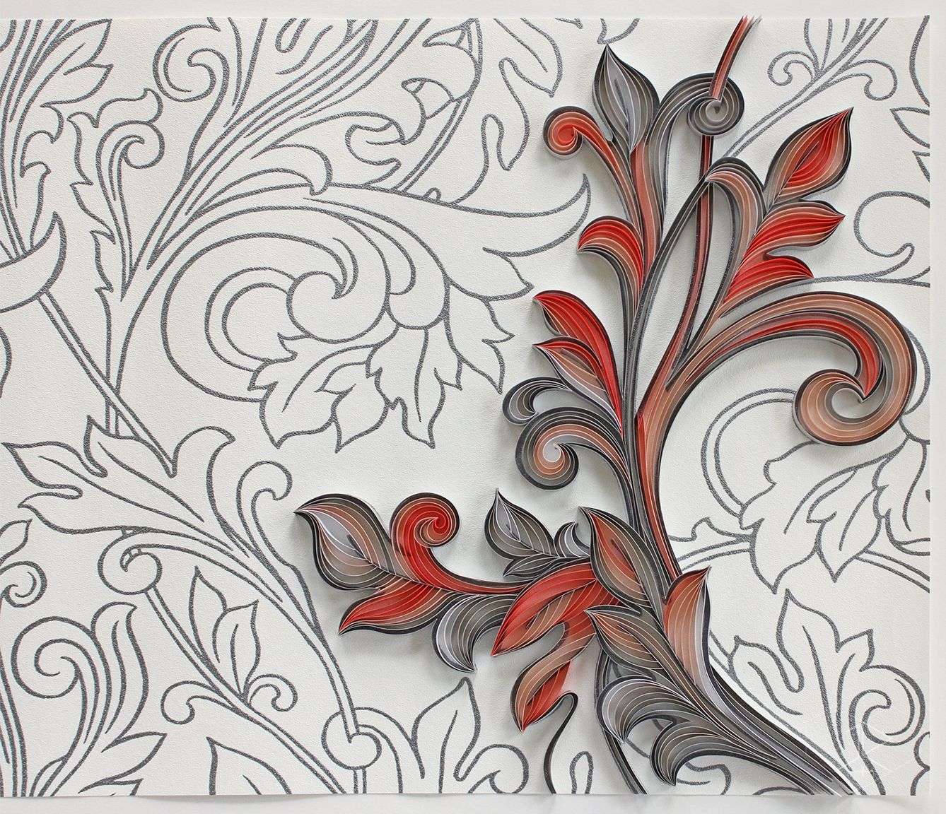 """3/8"""" quilling paper on Glory Silver wallpaper. JUDiTH+ROLFE"""