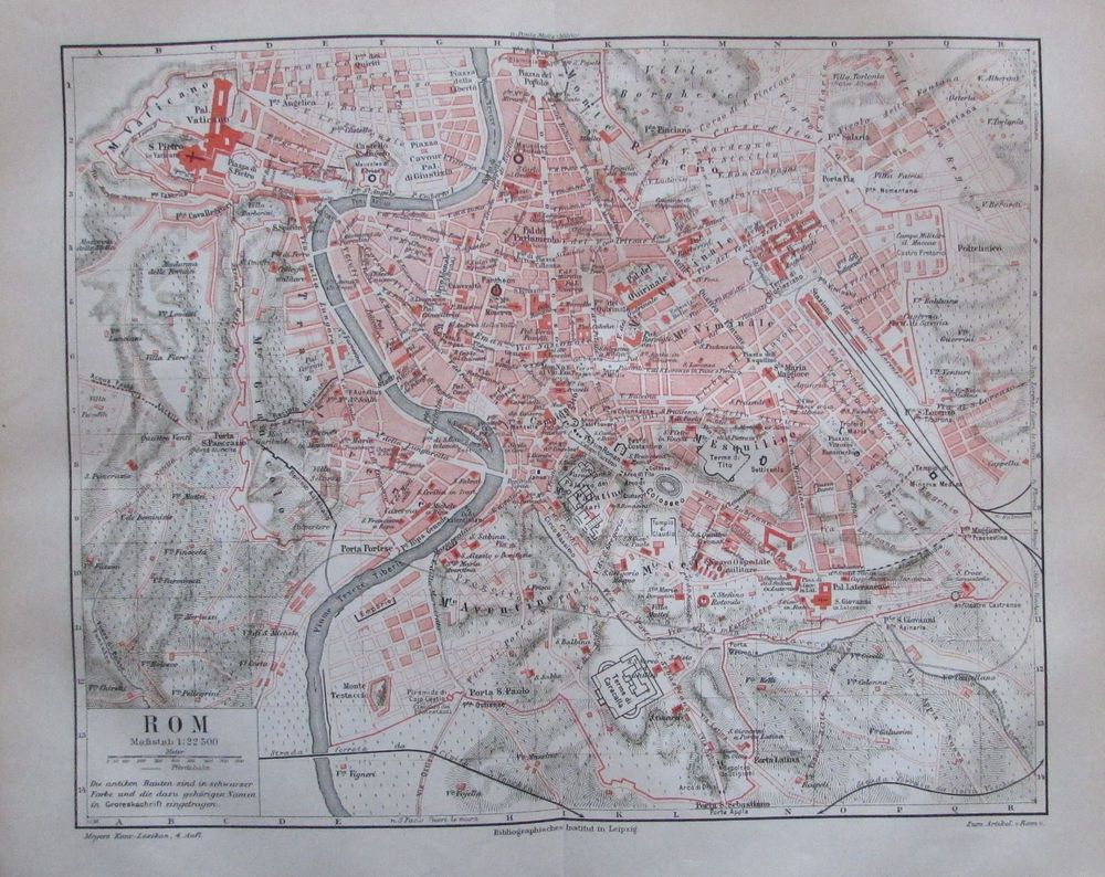 1889 Rom Italien Original Antike Stadtplan Karte Old City Map