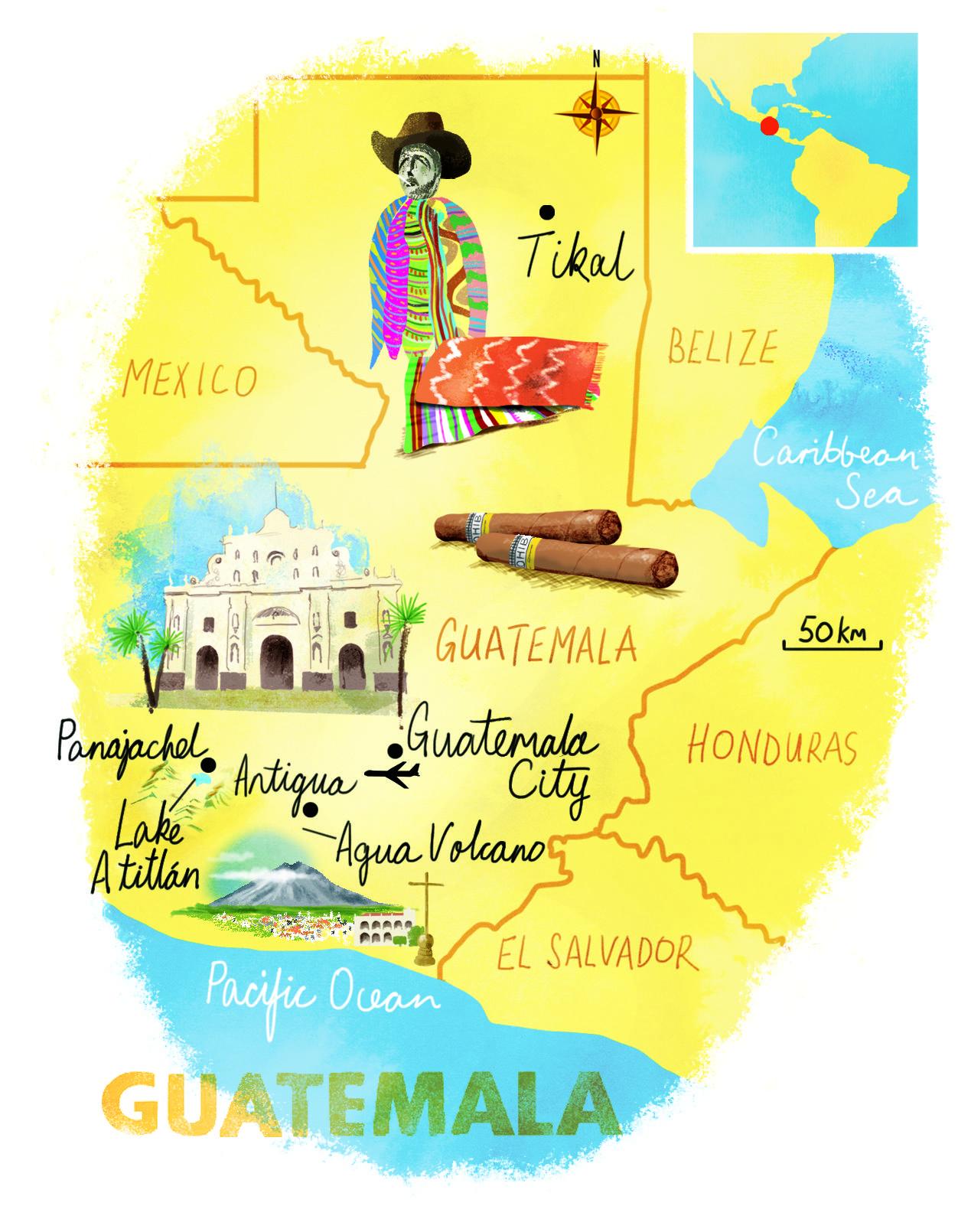 Guatemala Map By Scott Jessop March 2016 Issue Guatemala Travel Guatemala Ideas Illustrated Map