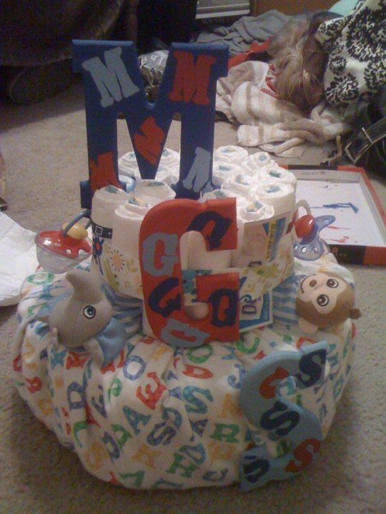 Boy Alphabet and Primary Colors - Diaper Cake