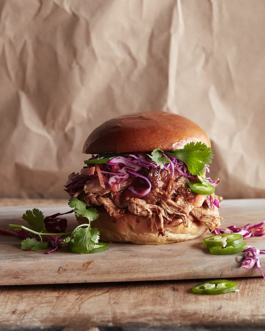 Slow Roasted Pulled Pork Sandwich | Bbq burgers, Slow