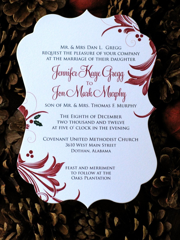 50 Flourish Christmas Wedding invitations - customize wording ...