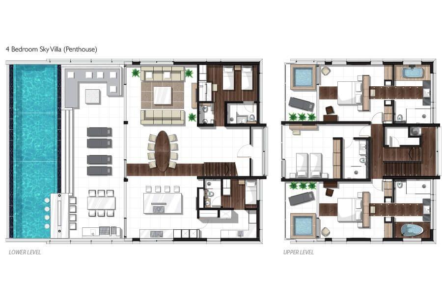 Four bedroom penthouse sky villa floor plan planos for Apartment villa design