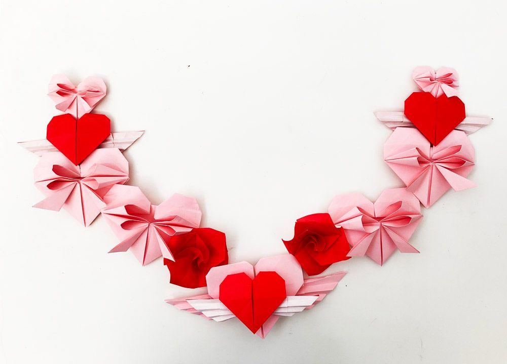 4 поделки оригами очаровательны + валентинки