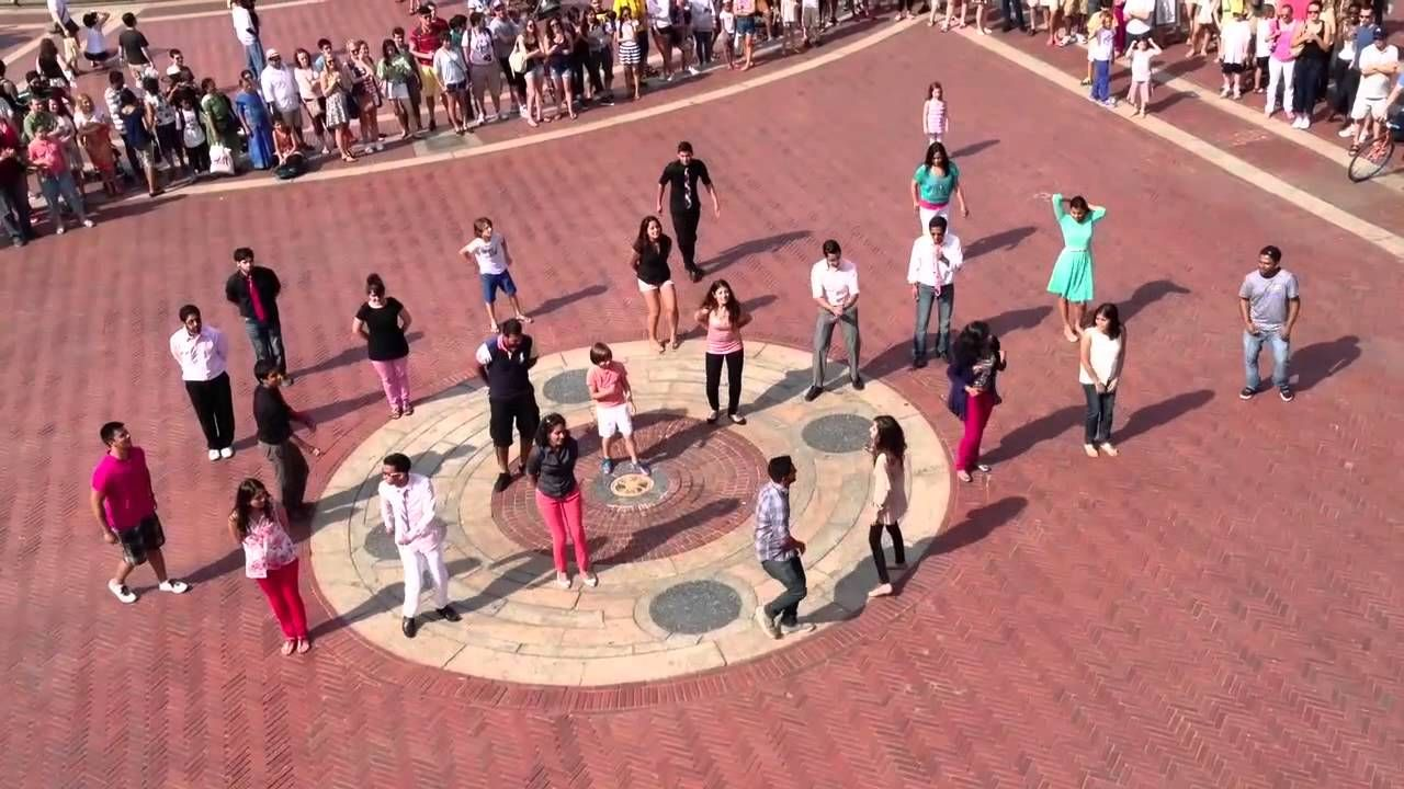 Dancing bollywood flash mob marriage proposal in central
