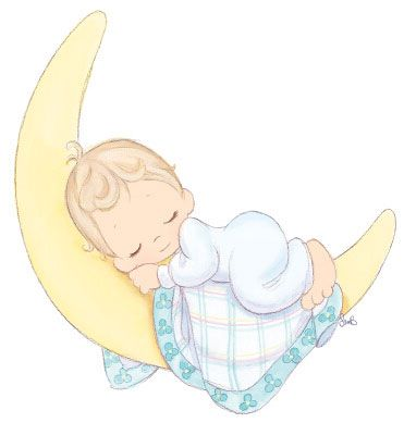 Precious Moments Baby Sleeping On Crescent Moon Cute For Baby