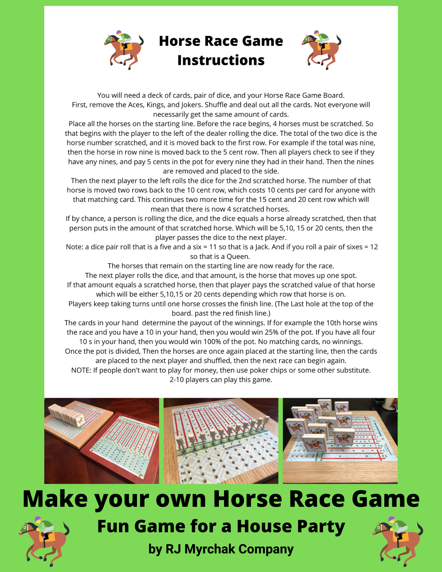 Horse Race Game Board Template in 2020 Horse race game