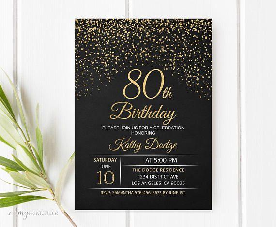 80th Birthday Invitation Gold Chalkboard Invite PERSONALIZED Digita