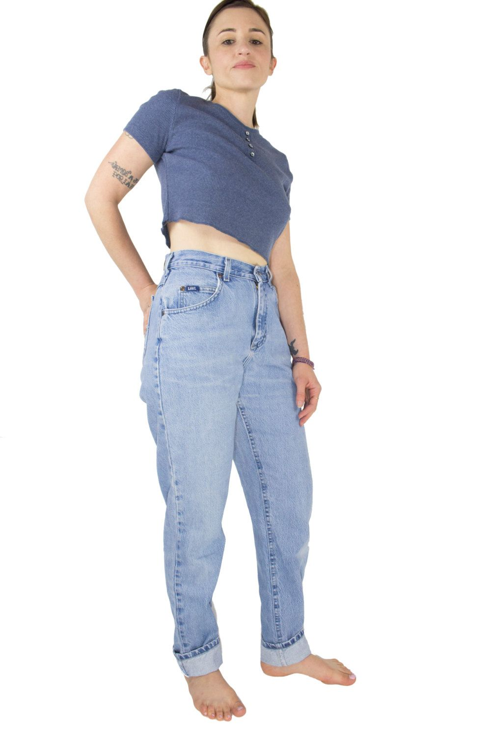 Vintage 90s High Waisted Lee Jeans | Light Wash Denim Mom Jeans | Size 27 | Retro Grunge Cowgirl Hi Waist Jeans by MainAndGrand on Etsy
