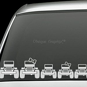 Jeep Family Vinyl Window Decals Set Of 5 Jeep Life Decal Jeep