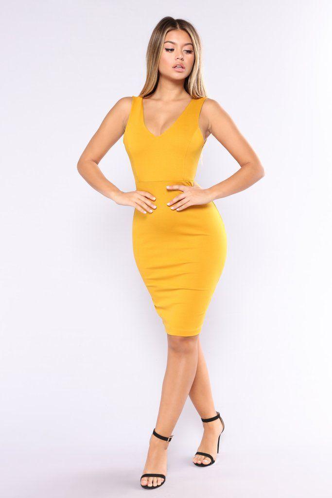 4b415b44e621 Three Words Midi Dress - Mustard (XS) | fashion nova | Dresses ...