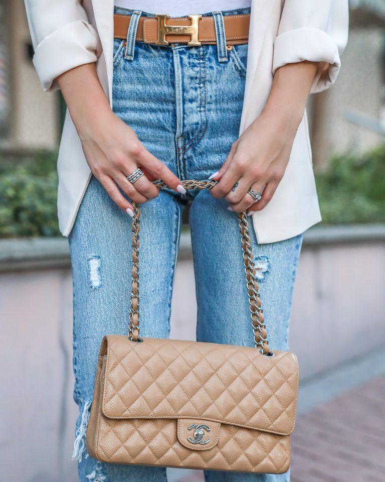c134e5f9fcb181 Caviar leather Tan Chanel Medium Flap Bag reversible Hermes H Belt ...