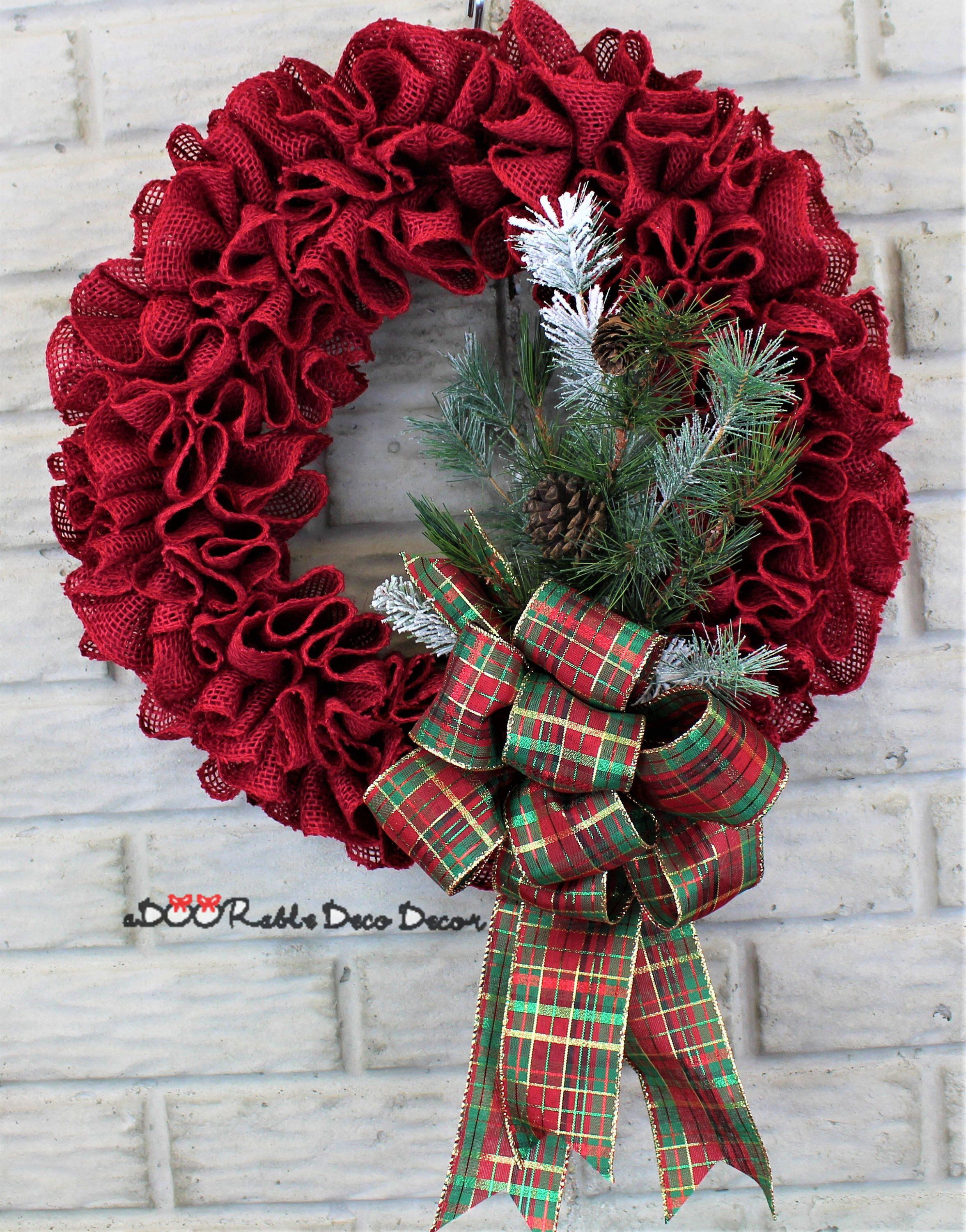 excited to share this item from my etsy shop red burlap christmas wreath
