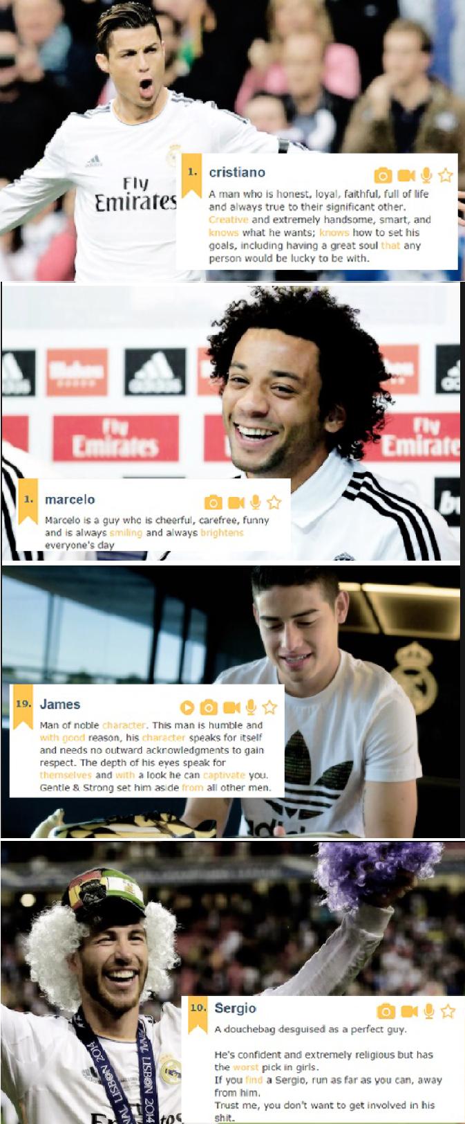 Real Madrid players + Urban Dictionary definitions of their names. Cristiano Ronaldo, Marcelo, James, Sergio Ramos.