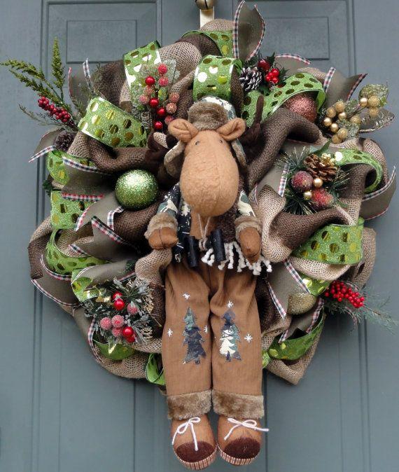 Camo Moose Wreath, Moose Christmas Wreath, Burlap Winter Wreath - moose christmas decorations