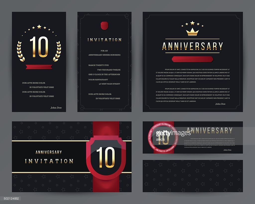 Vector art th anniversary invitation cards template with