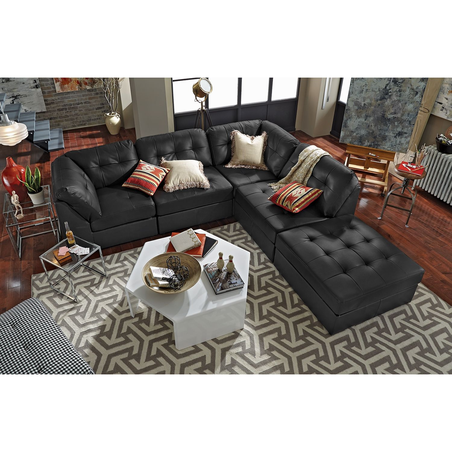 Value City Living Room Sets American Signature Furniture Aventura Leather 5 Pc Sectional