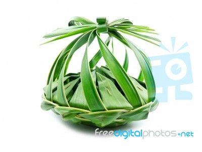 Thai Dessert In Leaf Basket