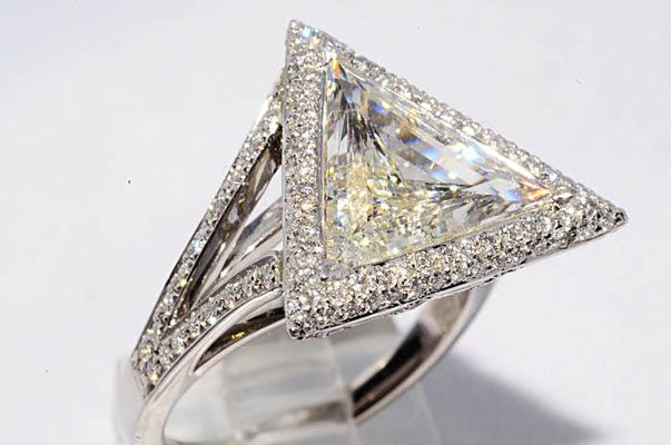 4 37ct One Of A Kind Platinum Triangle Diamond Engagement Ring
