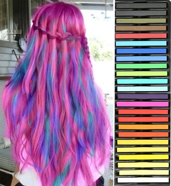 Promotion Hair Color Dye Crayon Temporary Hair Chalk 24 Colors Non