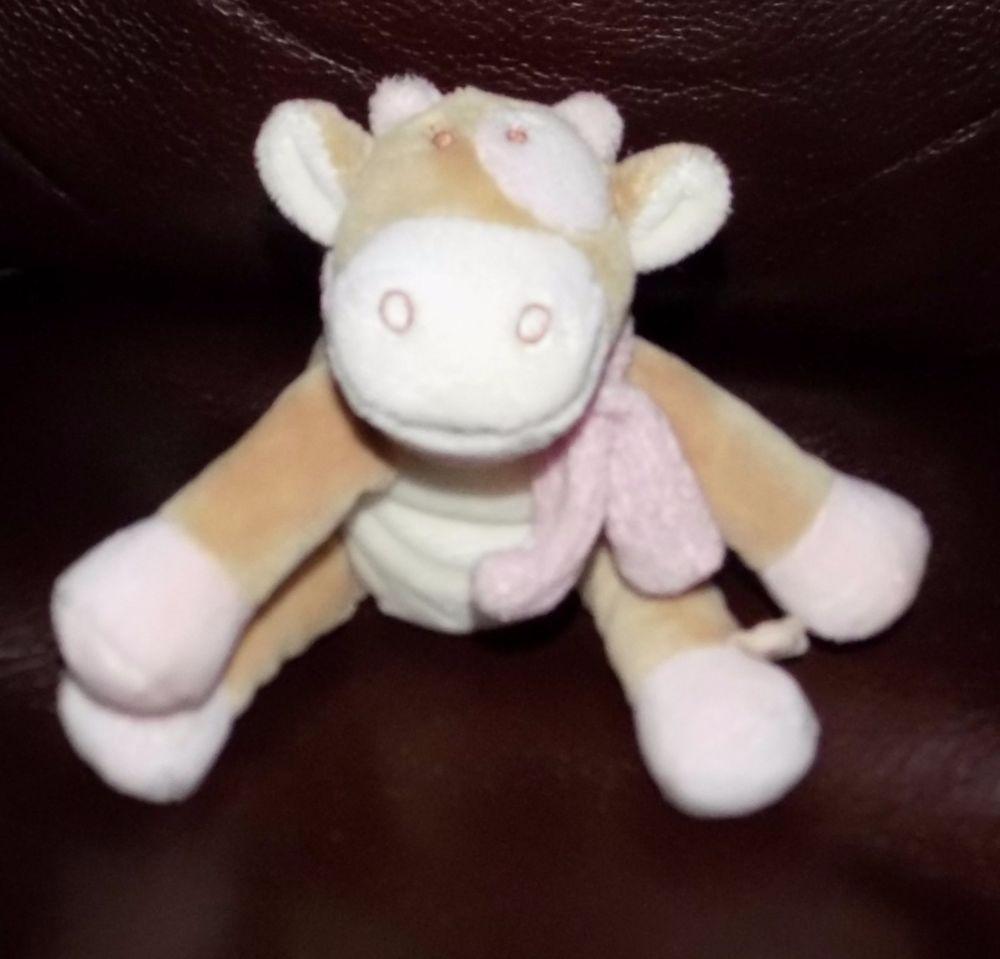 "5"" 2005 NOUKIES Tan & Pink PLUSH Beanbag Cow Embroidered Eyes SS #Noukies"