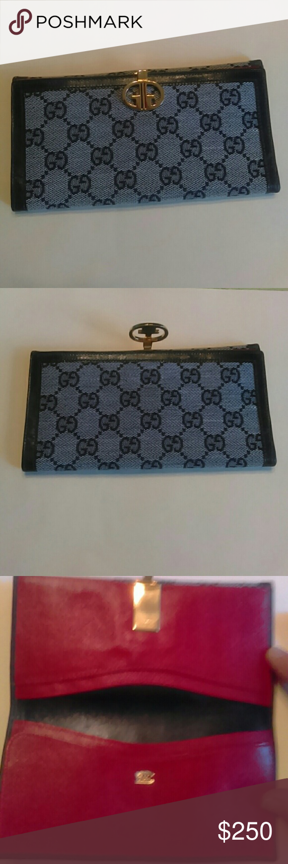c3be9625b1227c Authentic GUCCI Wallet/BILLFOLD Vintage This black trim leather authentic  Gucci wallet is a beautiful