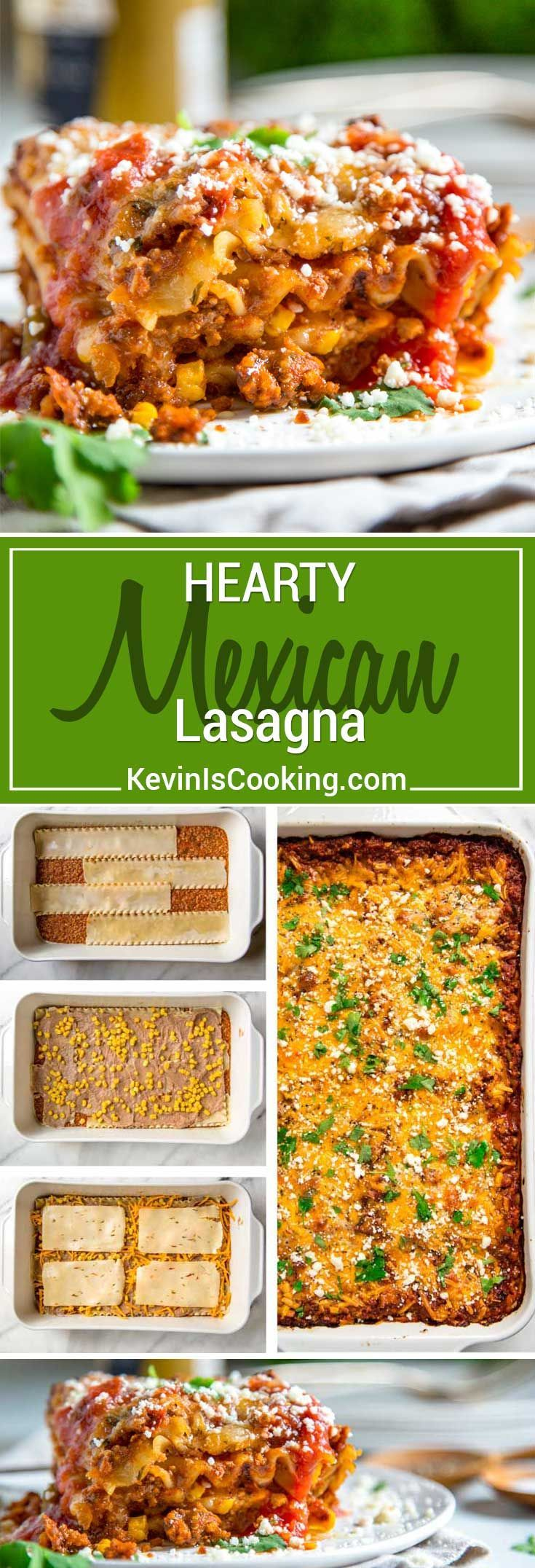 the Tex Mex route on this Hearty Mexican Lasagna, I kept with traditional lasagna noodles and went south of the border for spices. Refried beans, corn, two cheese with a beef and pork salsa meat sauce make this a crowd pleaser!