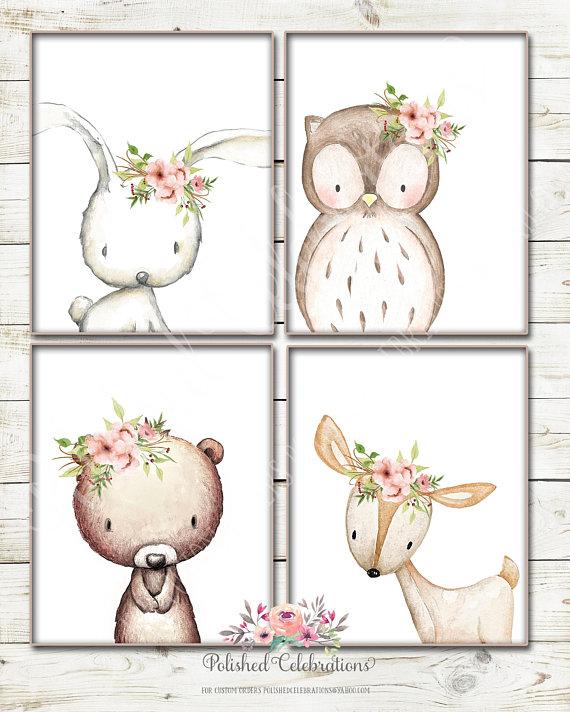 Blush Woodland Animal Set / Boho / 8x10, Floral, Tribal / Baby Girl Nursery / Printable / Baby Shower Decor / Boho / Bedroom Wall Art