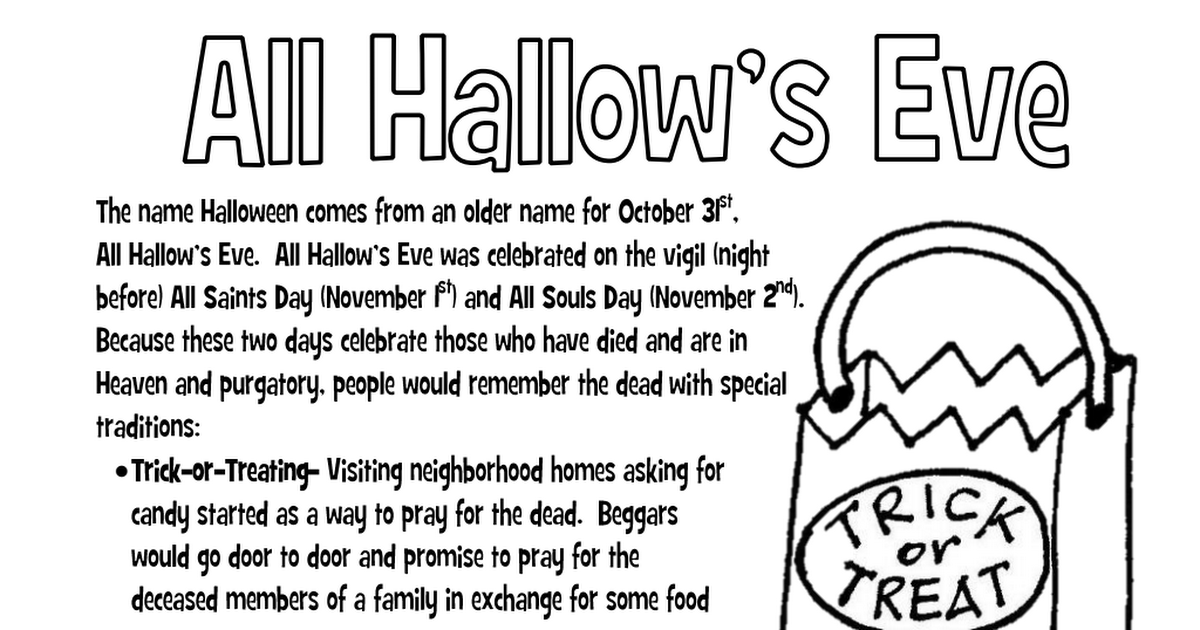 Religious Halloween Coloring Pages.All Hallows Eve Coloring Page Pdf Ccd Activities Halloween Coloring Pages Halloween Party Kids