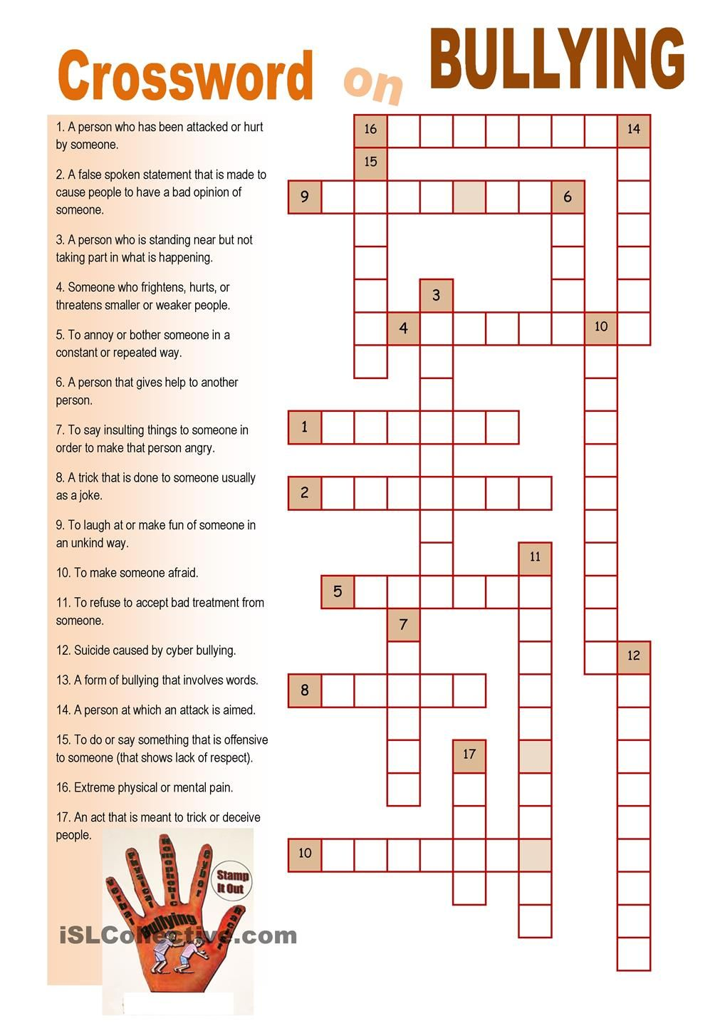 Worksheets Bullying Worksheet crossword on bullying pinterest worksheet free esl printable worksheets made by teachers
