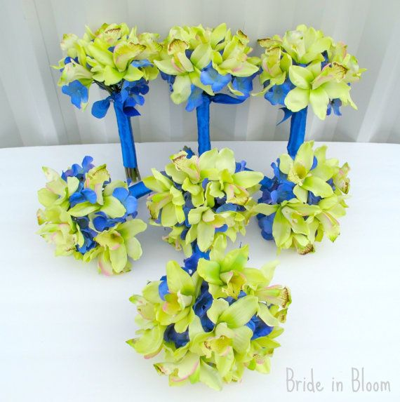 Wedding bouquets green orchids royal blue by BrideinBloomWeddings ...
