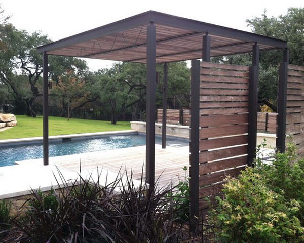 Contemporary light steel and wood covered deck google for Steel and wood pergola