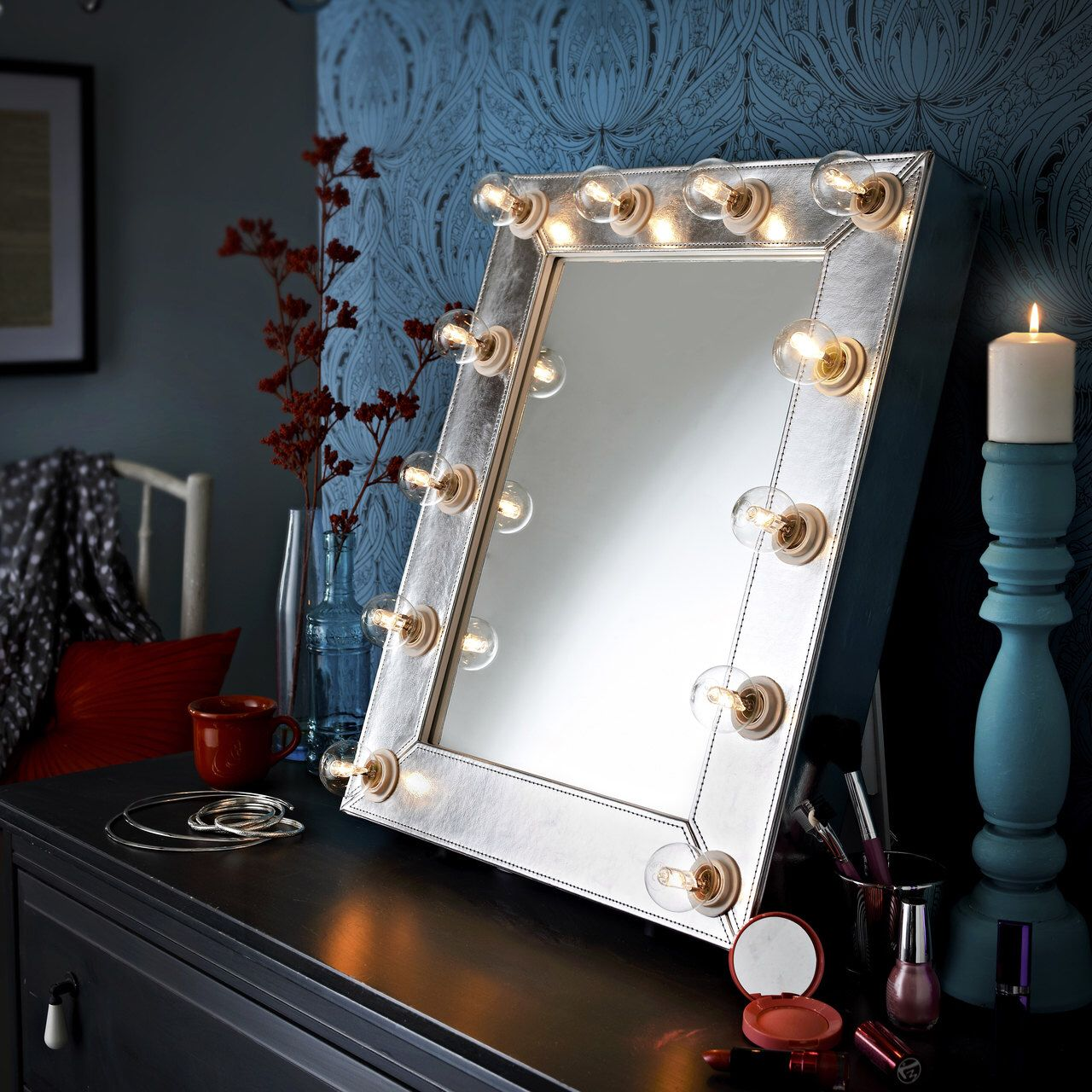 Dressing table mirrors with lights make up mirror illuminated mirror lights silver faux leather
