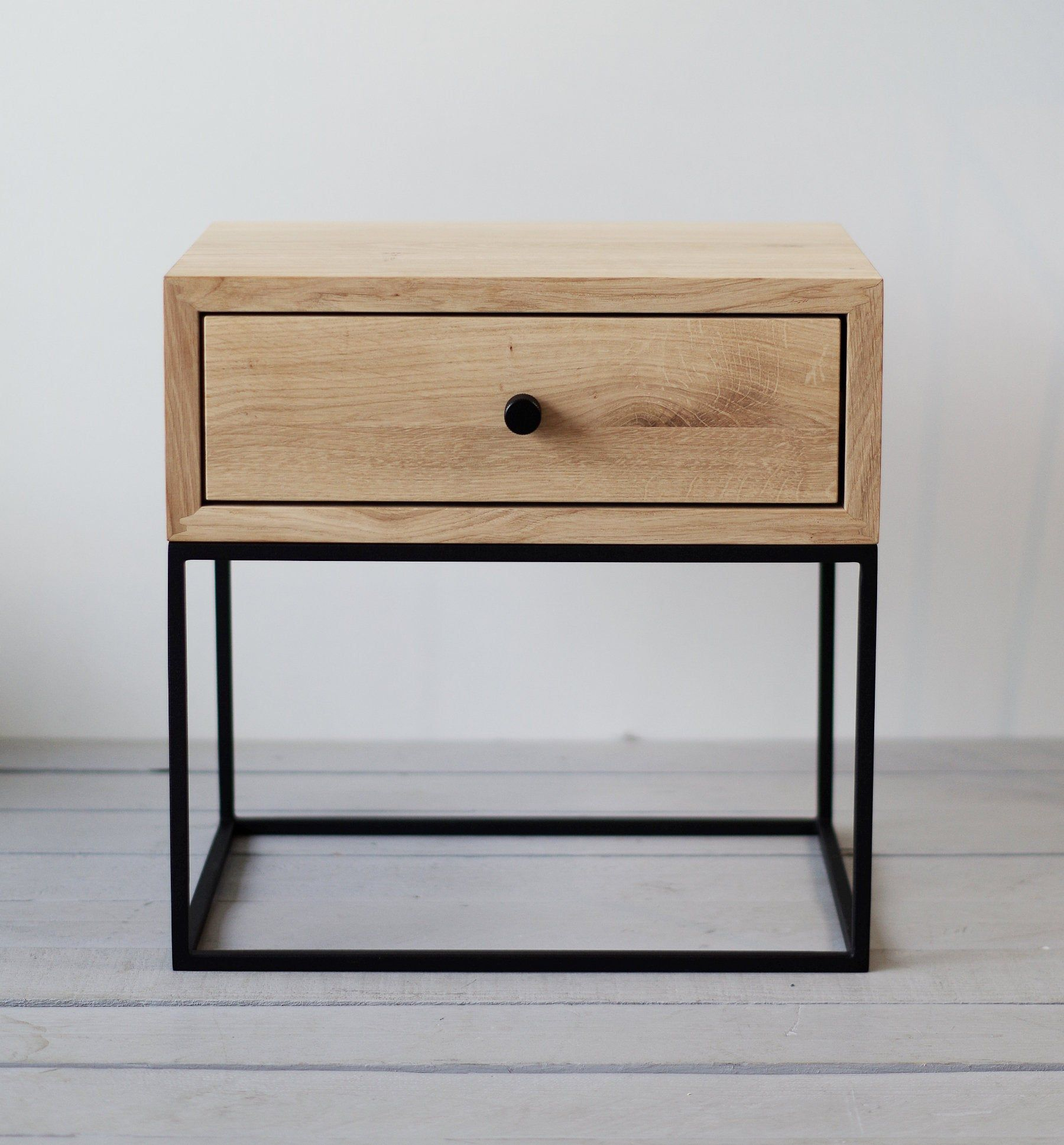 Industrial Nightstand Mid Century Industrial Style Solid Oak Wood And Black Finish Metal Legs Bedside Table Metal Wooden Bedside Table Wood Bedside Table