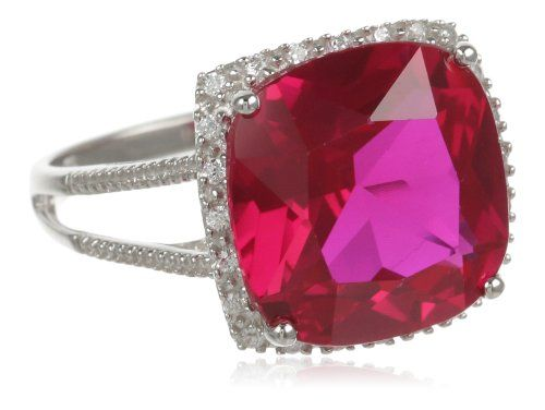 Sterling Silver Cushion-Shaped Created Ruby Ring -