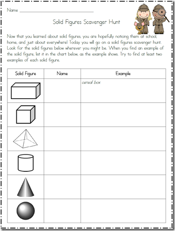 Worksheets Solid Figures Worksheets solid figures scavenger hunt math ideas for the classroom hunt