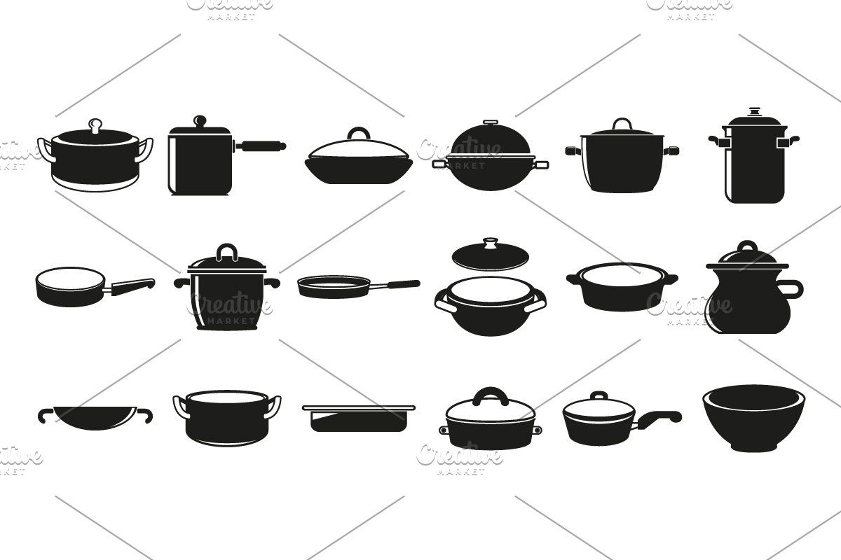 Pan And Pot Icons In With Images
