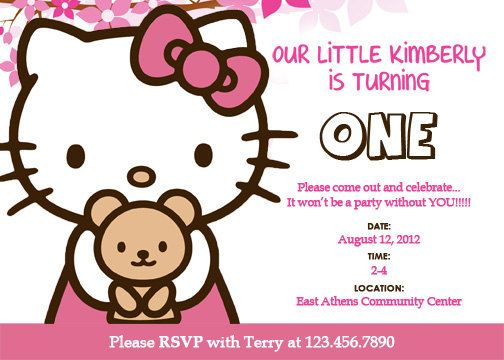 Hello Kitty invitation card for a birthday party would be terrific - free template for birthday invitation