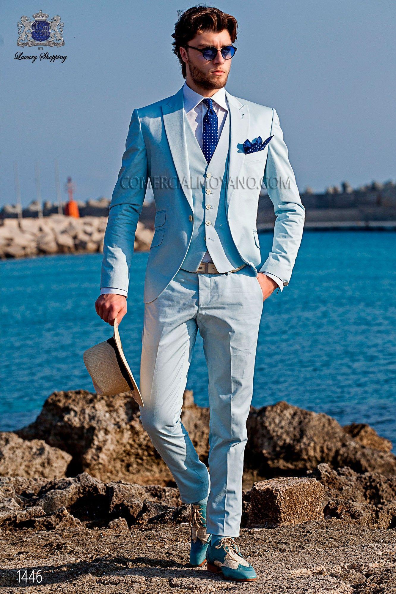 Traje moderno italiano de estilo ucslimud modelo solapas punta y
