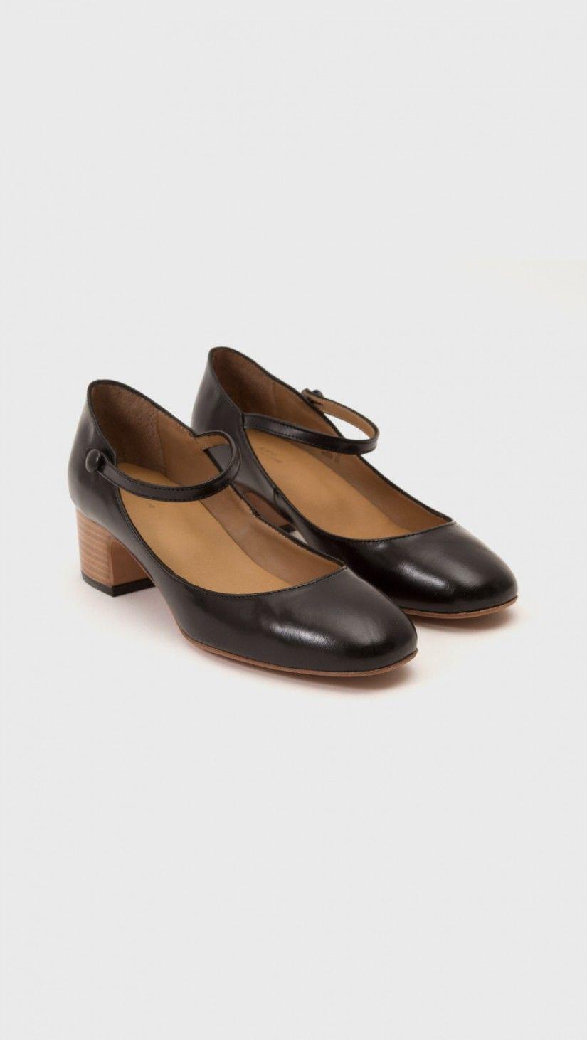 A.P.C. Black Velvet Mary Jane Heels CXFp7w7R