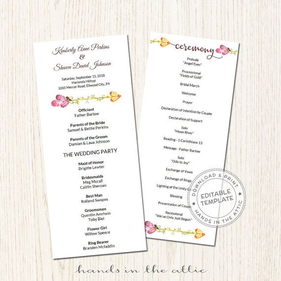 Wedding Program Template Download Day Of Schedule Wedding Ceremony