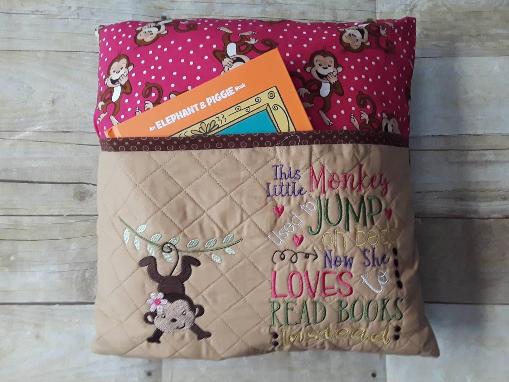 Reading Pillow Book Pocket For Girl Gift Readers Kids Birthday Monkey